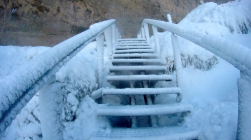 frozen stairs.