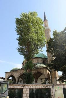 16th century Bascarsija Mosque. It was badly damaged during the last war and it is now under major reconstruction.